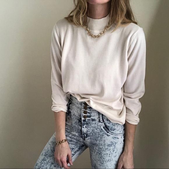 b7a32acb0 Vintage Sweaters | Boxy Silk Mock Neck Knit Pullover | Poshmark